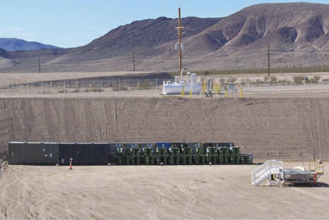 Landfill cell in Area 5 at the Nevada National Security Site, 65 miles northwest of Las Vegas. ...