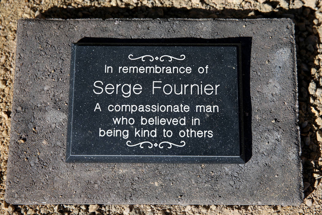 A plaque dedicated to 74-year-old Serge Fournier, the Las Vegas man who died after being pushed ...