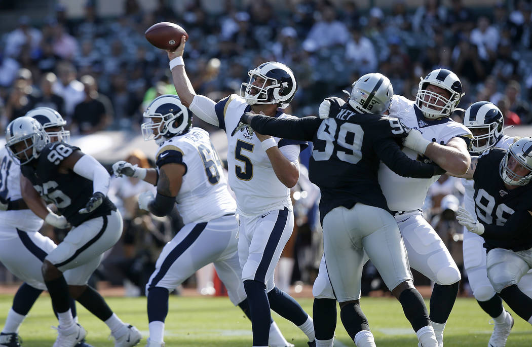 Los Angeles Rams' Blake Bortles throws a pass against the Oakland Raiders during the first half ...