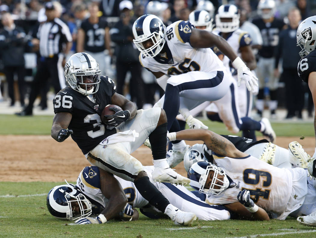 Oakland Raiders' James Butler (36) rushes against the Los Angeles Rams during the second half o ...