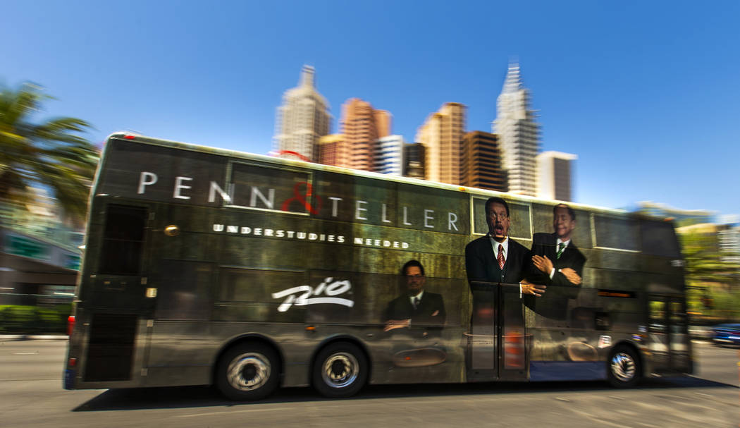 An RTC bus passes the New York-New York driving down the Strip on Tuesday, Aug. 13, 2019 in Las ...