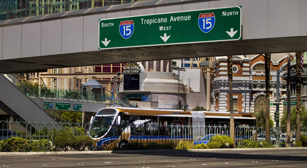 An RTC bus passes the Excalibur driving down the Strip on Tuesday, Aug. 13, 2019 in Las Vegas. ...