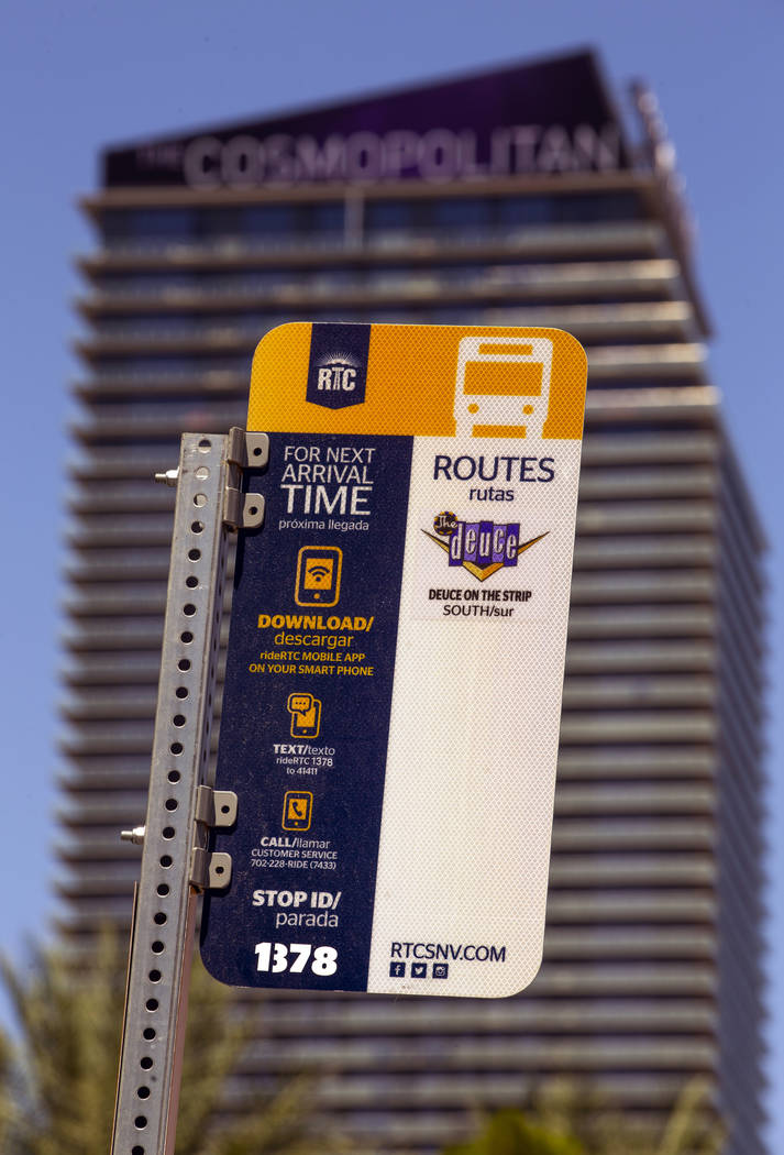A route sign marks a RTC bus stop at CVS Pharmacy on the Strip on Tuesday, Aug. 13, 2019 in Las ...