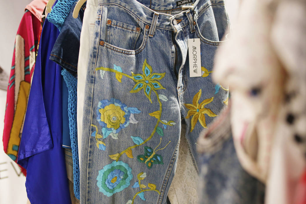 Vintage embroidered Levi's on display at the Morphew exhibit during the second day of the MAGIC ...