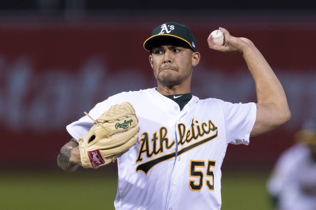 Oakland Athletics pitcher Sean Manaea, recovering from shoulder surgery and rehabbing with the ...