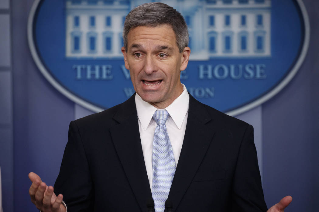 Acting Director of United States Citizenship and Immigration Services Ken Cuccinelli, speaks du ...