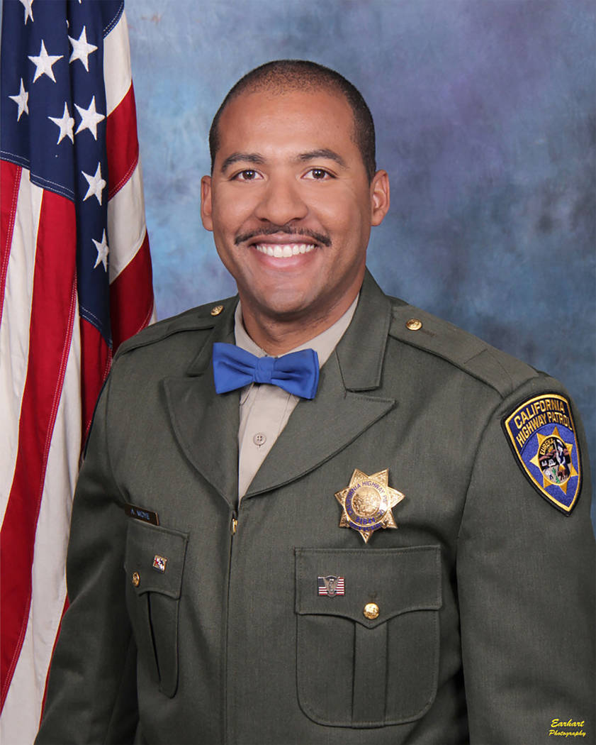 In this undated photo release by the California Highway Patrol, Officer Andre Moye Jr. A driver ...
