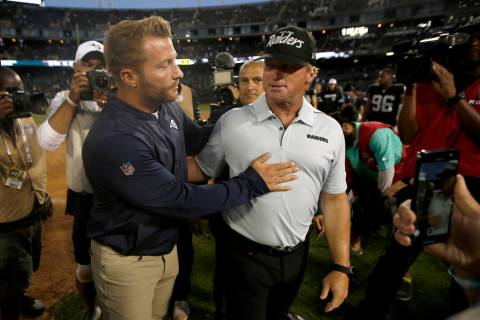 Los Angeles Rams coach Sean McVay, left, congratulates Oakland Raiders coach Jon Gruden after a ...