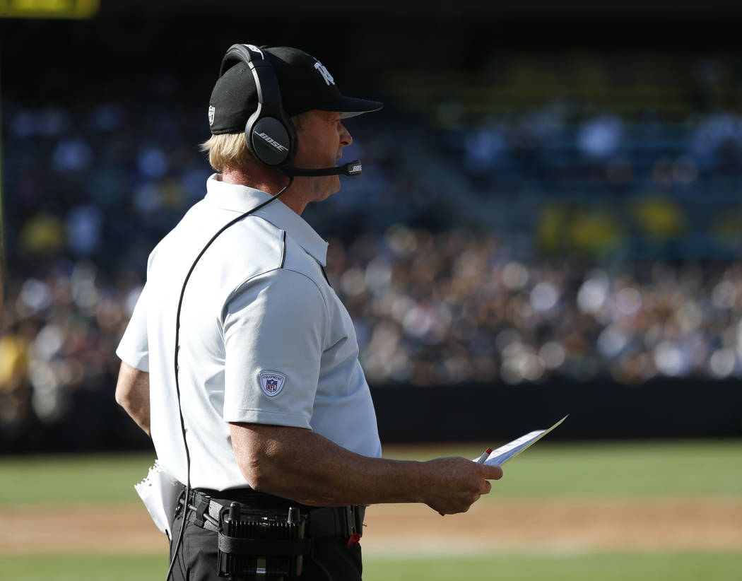 Oakland Raiders coach Jon Gruden during the first half of a preseason NFL football game against ...