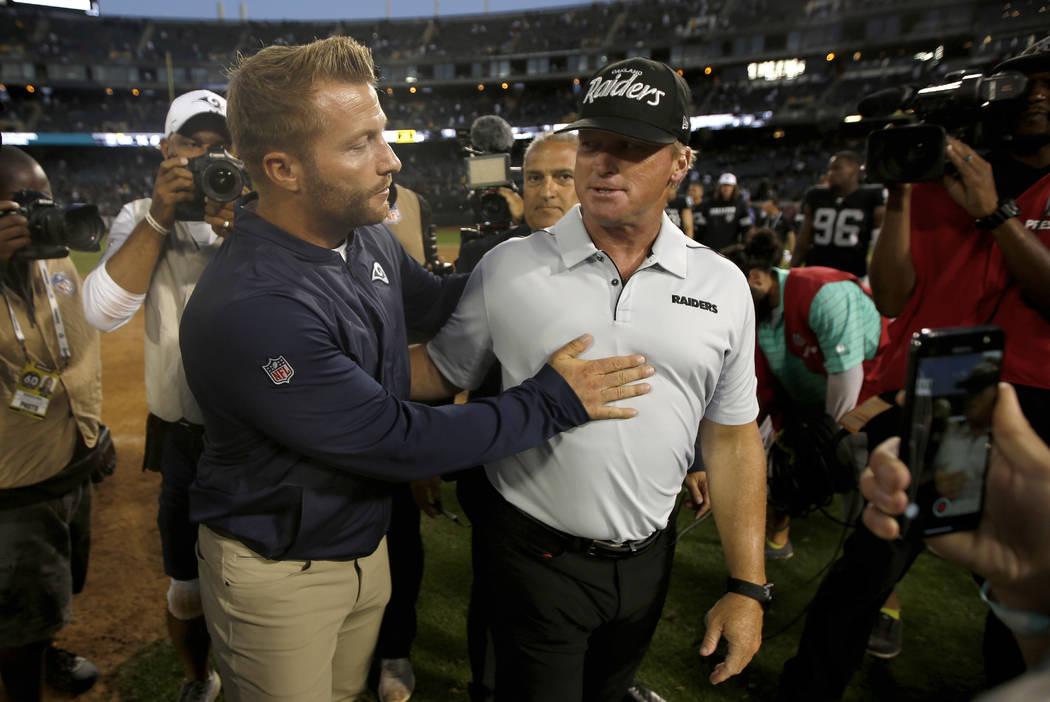 Los Angeles Rams coach Sean McVay, left, congratulates Oakland Raiders coach Jon Gruden after a ...