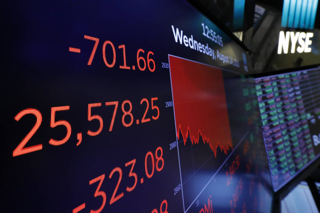 A screen above the trading floor shows an intraday number for the Dow Jones industrial average ...
