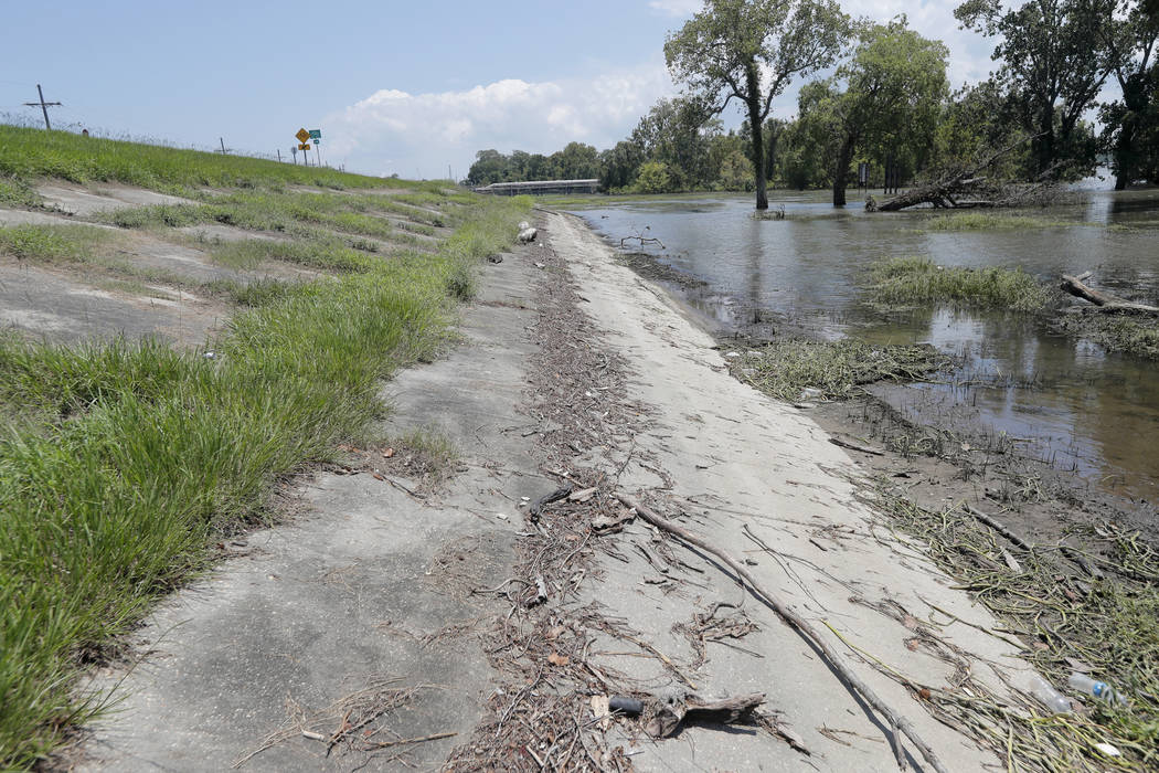 In this July 25, 2019 photo, water lines and receding water are seen on the backside of the Mis ...