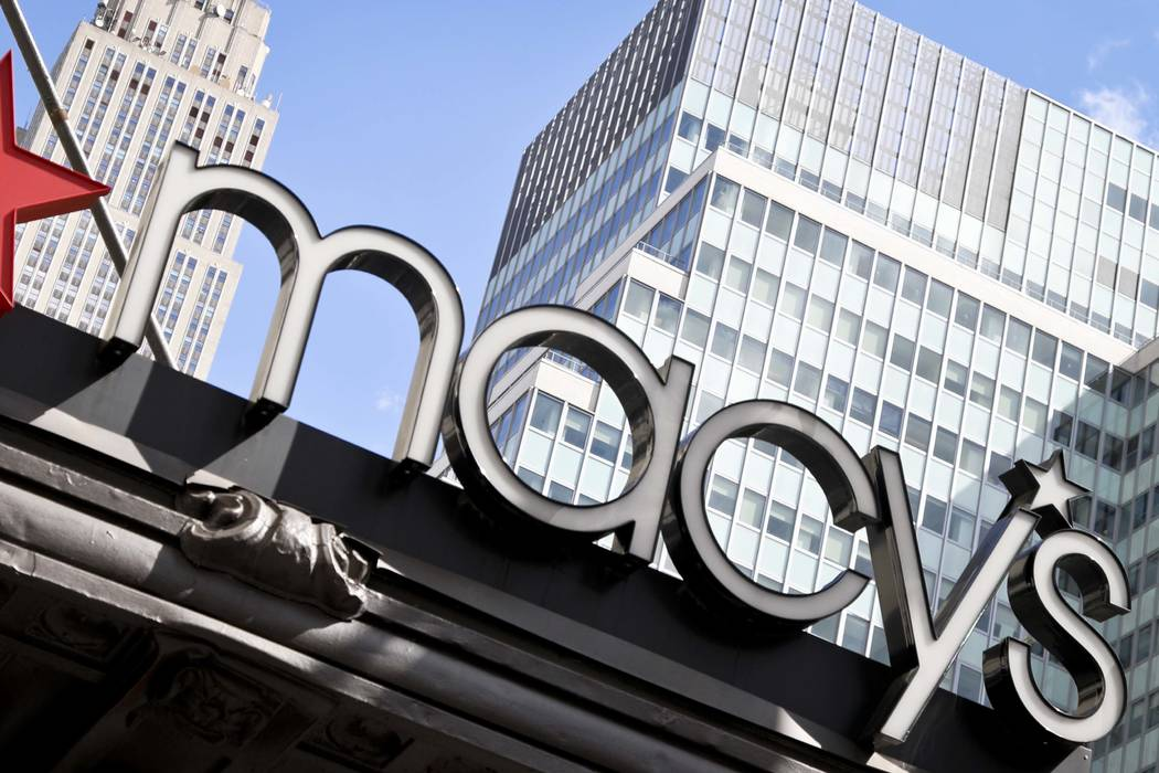 This Tuesday, May 2, 2017, photo shows Macy's corporate signage at its flagship store in New Yo ...