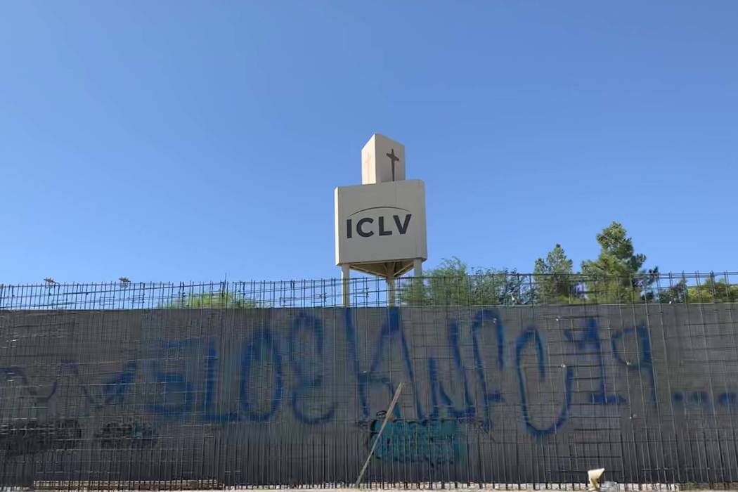 A wall on a portion of the under construction Summerlin Parkway pedestrian bridge was hot by va ...
