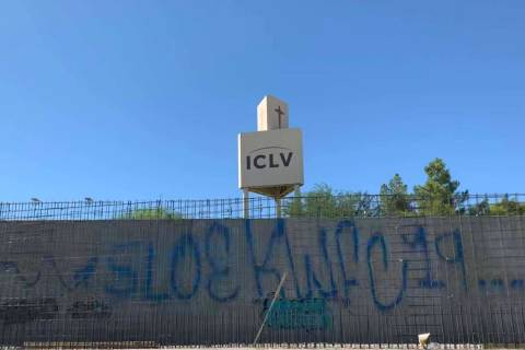 A wall on a portion of the under-construction Summerlin Parkway pedestrian bridge was hit by va ...