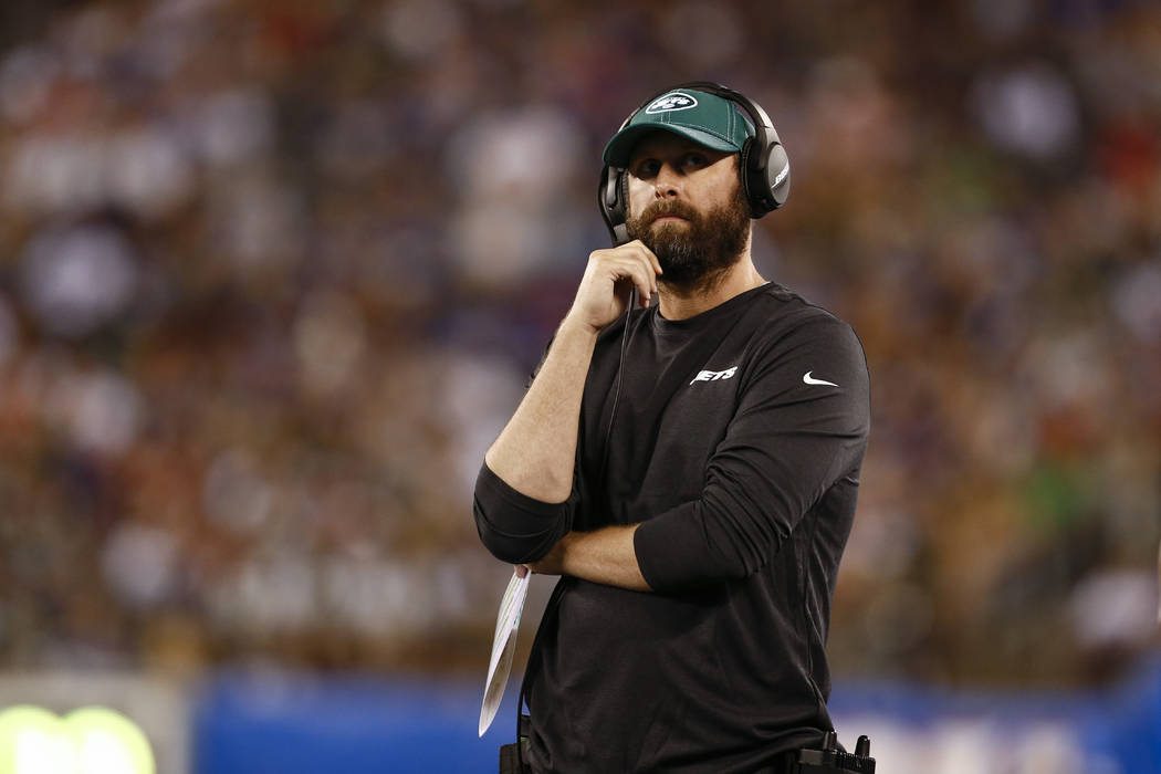 New York Jets head coach Adam Gase during the first half of a preseason NFL football game again ...