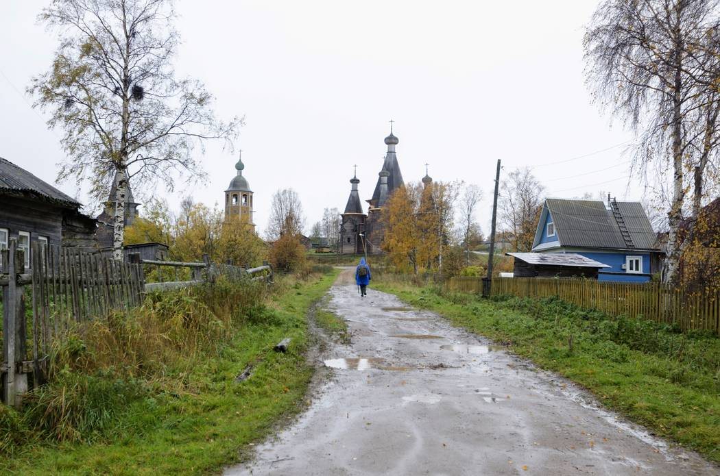 In this photo taken Oct. 7, 2018, a person walks down a street in the village of Nyonoksa, nort ...
