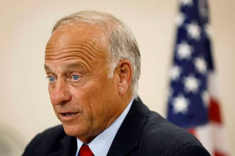 U.S. Rep. Steve King, R-Iowa, speaks during a town hall meeting, Tuesday, Aug. 13, 2019, in Boo ...