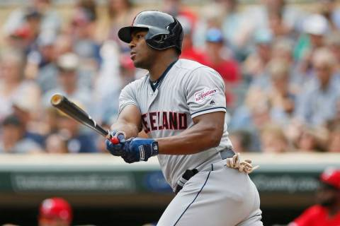 Cleveland Indians' Yasiel Puig hits an RBI double off Minnesota Twins pitcher Jose Berrios in t ...