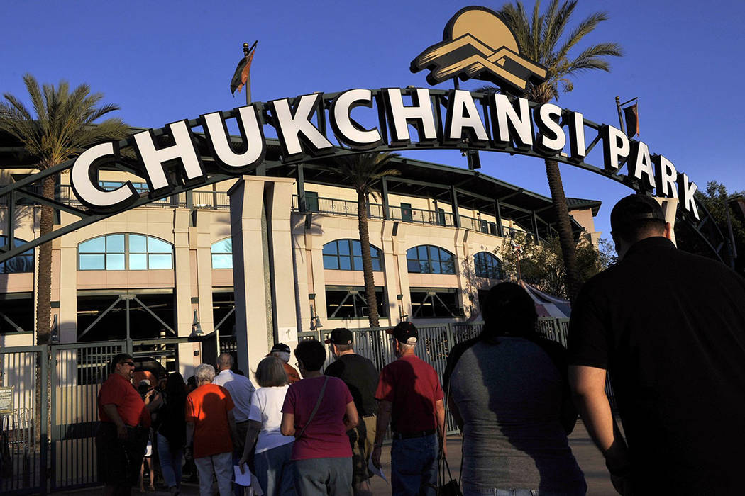 This Sept. 18, 2015 photo shows fans arrive at Chukchansi Park in Fresno, Calif., for a minor-l ...