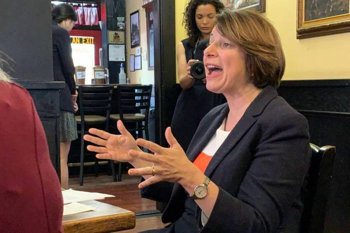 Sen. Amy Klobuchar, D-Minn., speaks during a roundtable discussion with veterans in Carson City ...