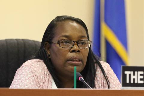 Southern Nevada Regional Housing Authority Resident Commissioner Theresa Davis speaks during a ...