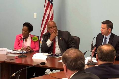 Democratic U.S. Reps. Sheila Jackson Lee of Texas and Bennie Thompson of Mississippi listen as ...