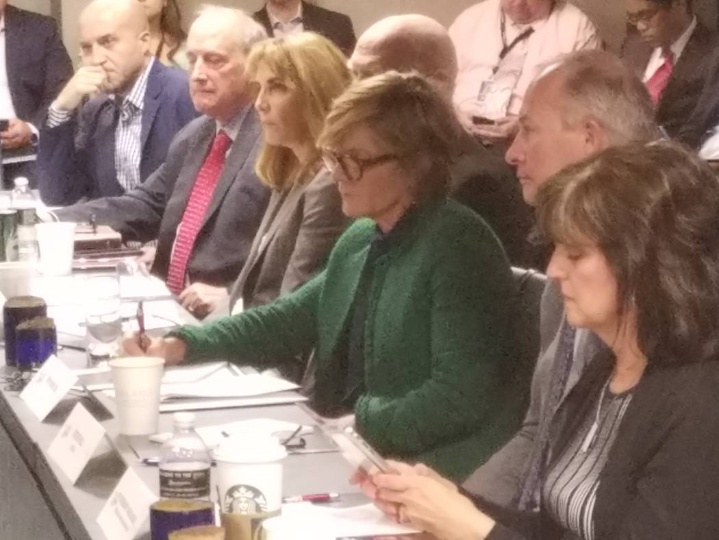 Rep. Susie Lee, D-Nev., takes notes during her Travel Talks Roundtable Wednesday, Aug. 14, 2019 ...