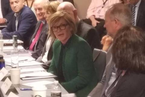 Rep. Susie Lee, D-Nev., addresses the Travel Talks Roundtable Wednesday, Aug. 14, 2019, at Dela ...