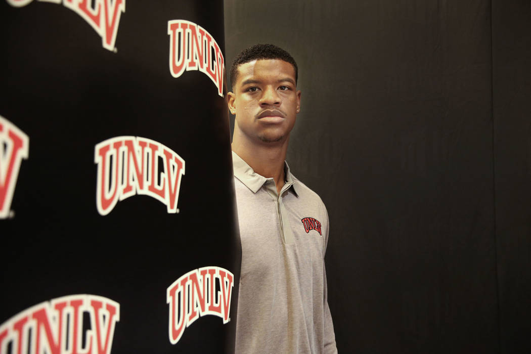 UNLV linebacker Javin White takes a portrait during the Mountain West Conference at Green Valle ...