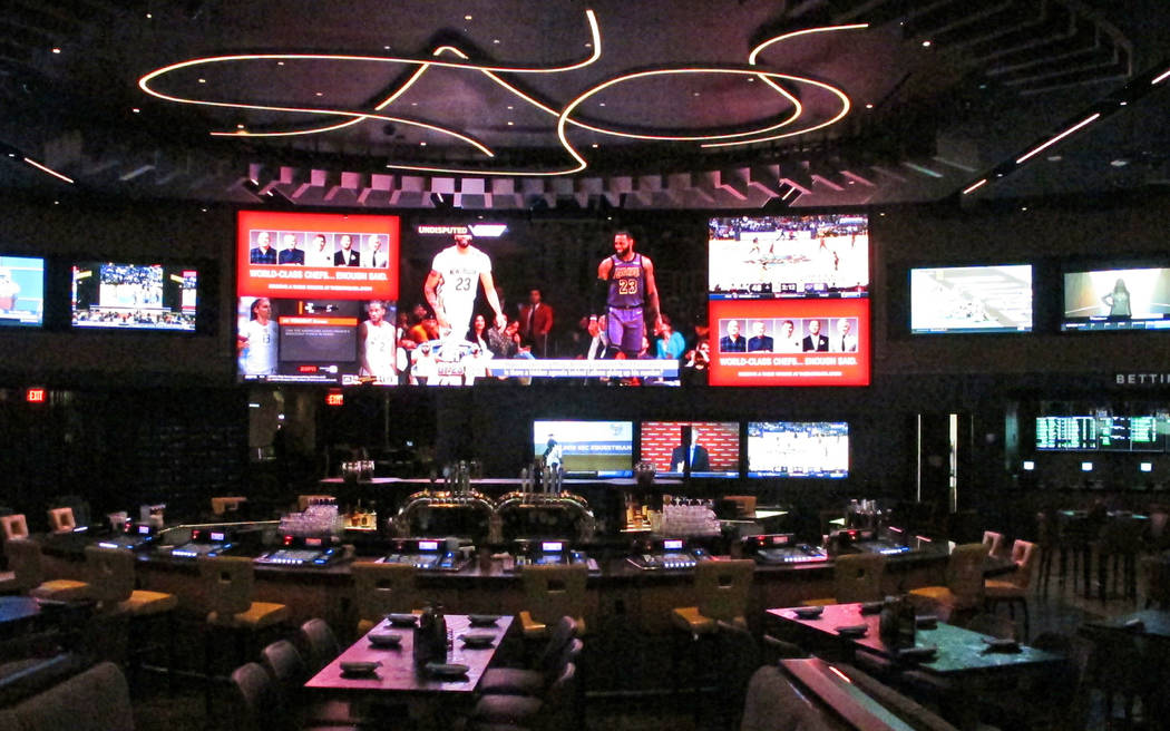 This Friday, June 28, 2019 photo, shows the Borgata casino's new sports betting lounge which is ...