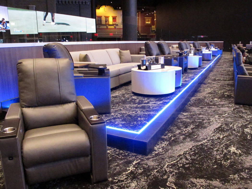This Thursday, June 27, 2019 photo, shows a seating area in the new sportsbook at Bally's casin ...