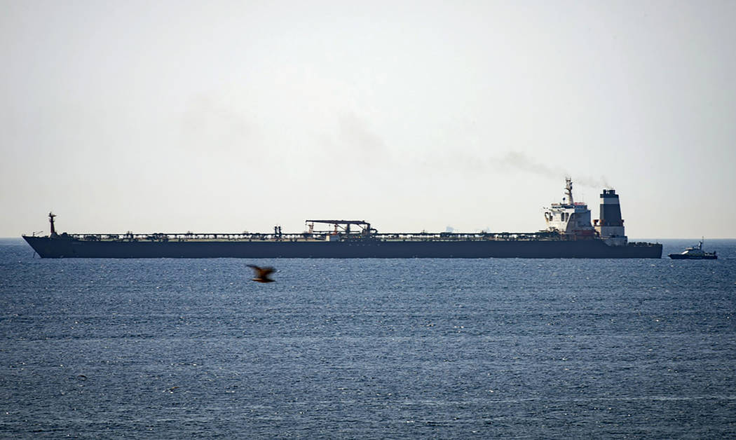 FILE - In this file photo dated Thursday, July 4, 2019, Grace 1 super tanker is anchored near a ...