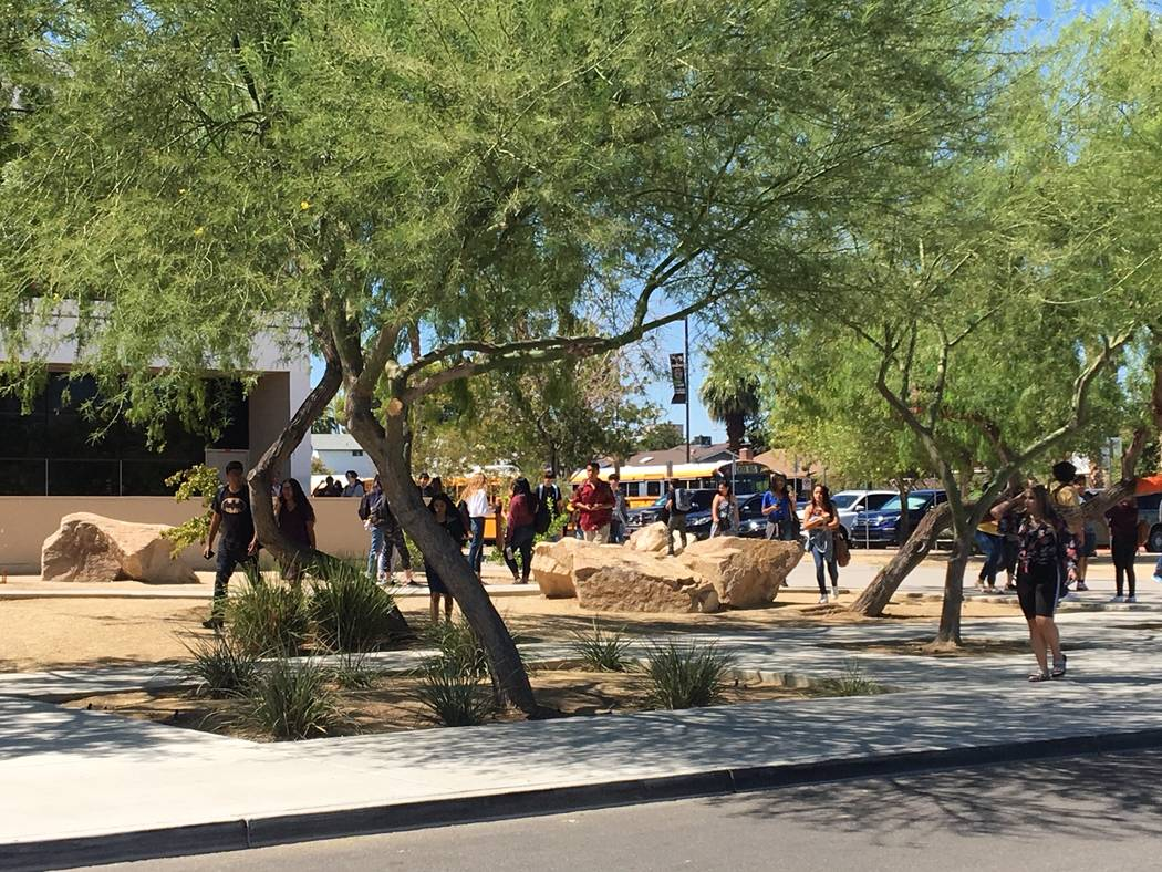 Students were released early from Chaparral High School in Las Vegas after a power outage at th ...