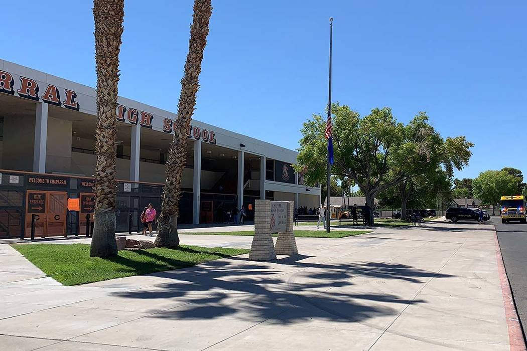 Students are being released from Chaparral High School in Las Vegas after a power outage at the ...
