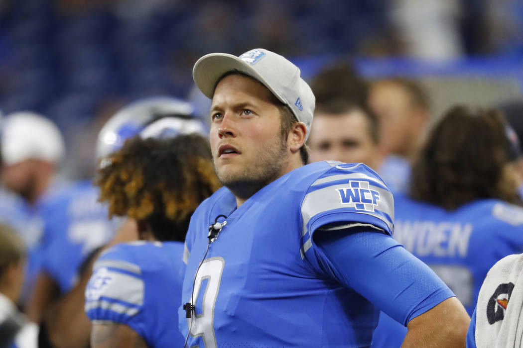Detroit Lions quarterback Matthew Stafford (9) watches against the New England Patriots during ...