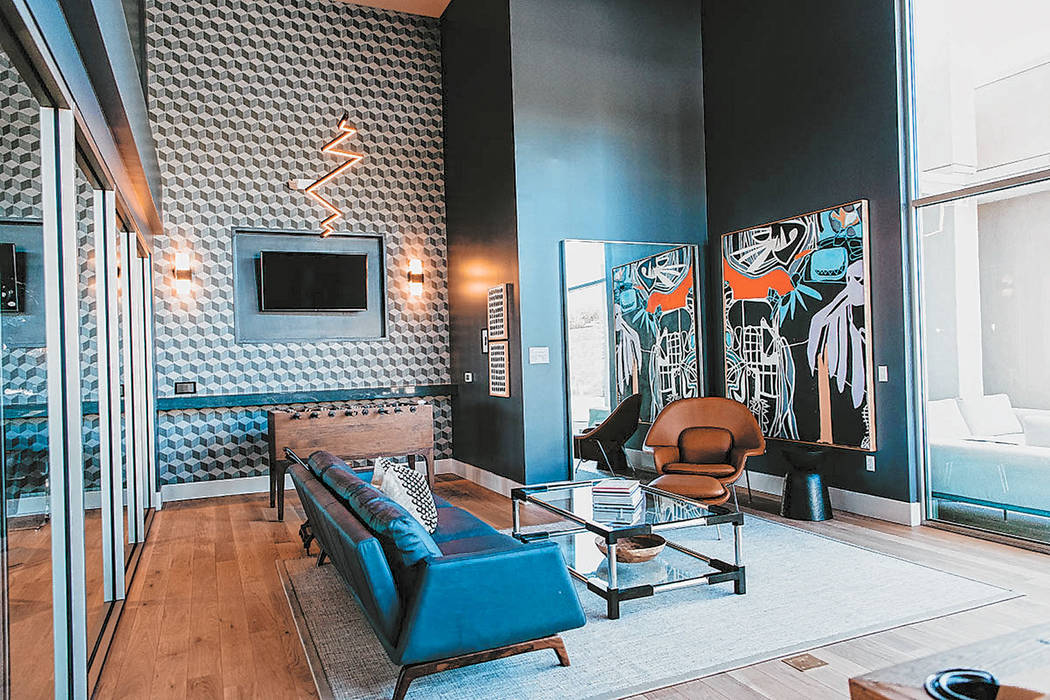 The new luxury apartment community at Tanager in Downtown Summerlin features a clubhouse and ot ...