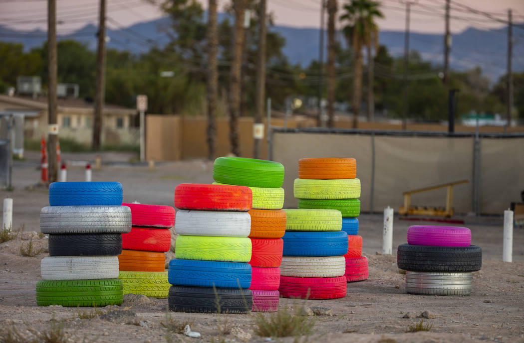 Seven Magic Tires art installation created by Ramiro Gomez and Justin Favela at 1000 N. Nellis ...