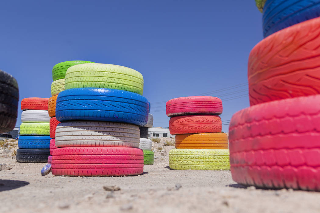 Seven Magic Tires art installation created by Ramiro Gomez and Justin Favela is seen in Las Veg ...