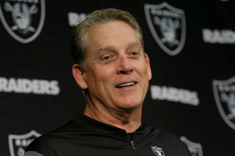 Then-Oakland Raiders head coach Jack Del Rio speaks at a news conference after an NFL football ...