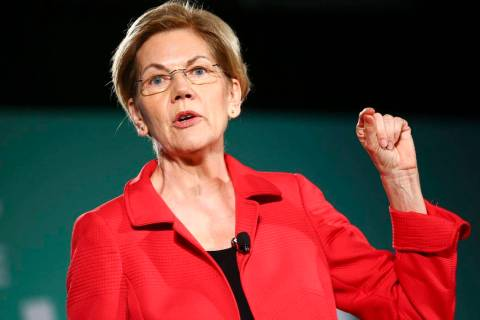 Sen. Elizabeth Warren, D-Mass., speaks during a public forum for Democratic presidential candid ...