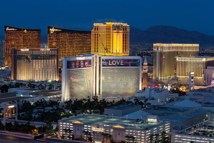 The Las Vegas Strip skyline lights up at dusk as seen from the VooDoo Lounge atop the Rio. (Las ...