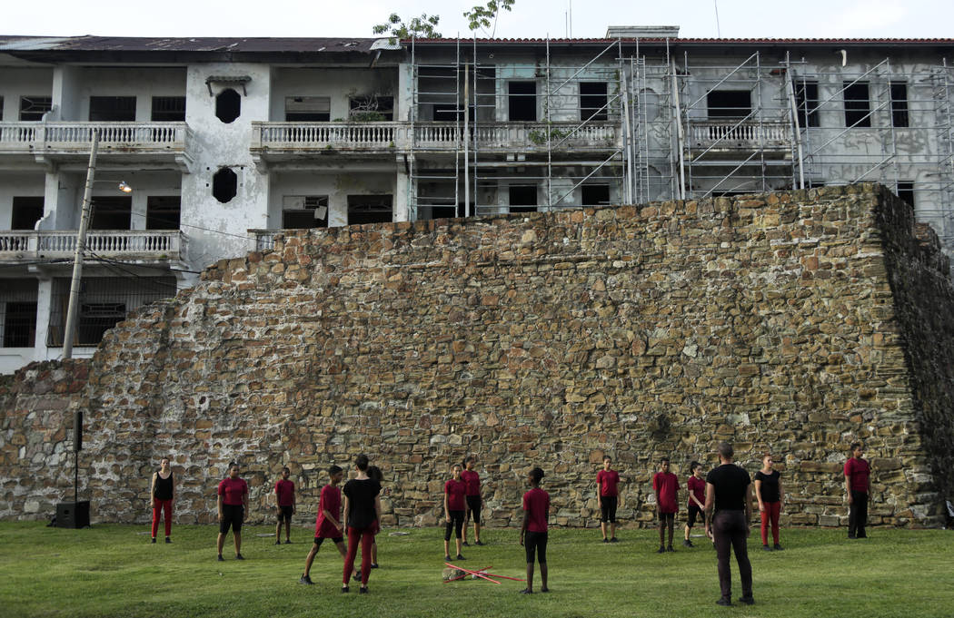 In July 28, 2019 photo, actors perform in front of the old wall that protected the Casco Viejo ...