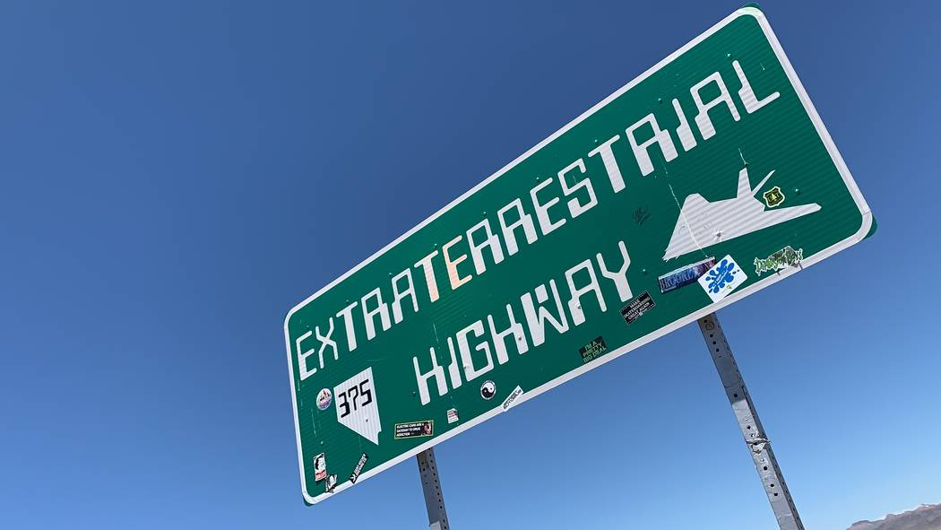 The Extraterrestrial Highway sign is seen along State Route 375 in Rachel, NV, on July 16, 2019 ...