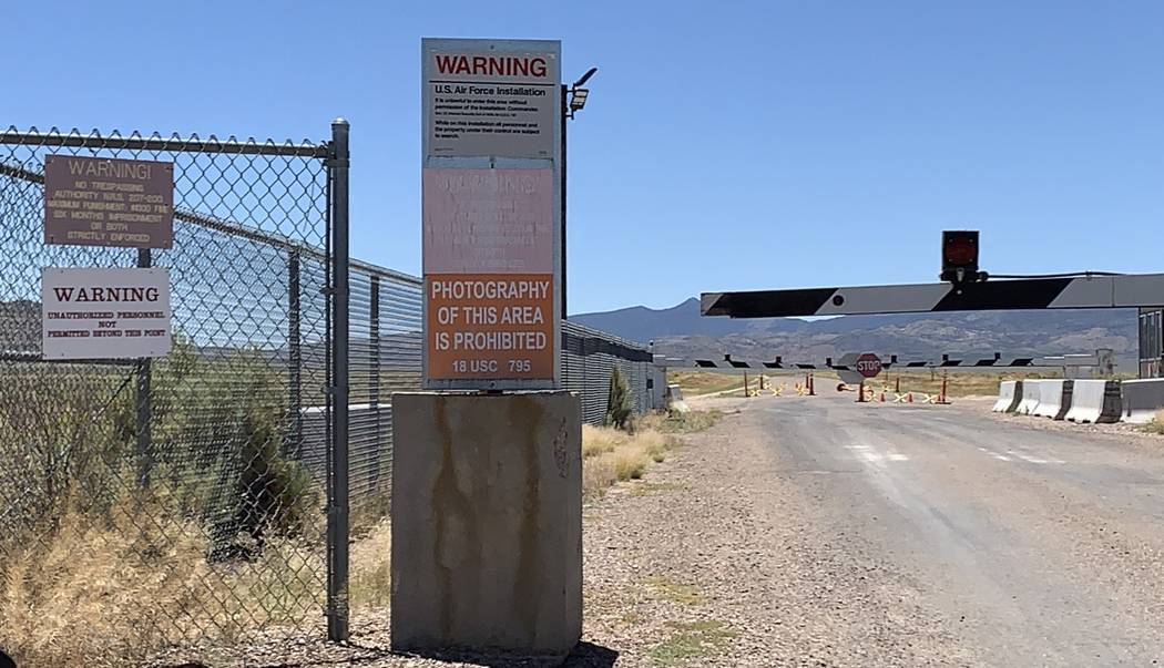 The back gates of Area 51 in Rachel, NV on July 16, 2019. (Mat Luschek / Review-Journal)