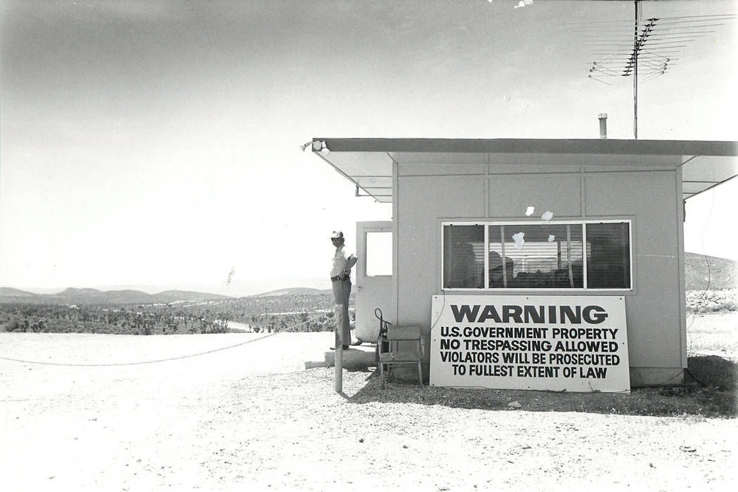 Entrance to Nevada Test Site pictured in 1984 (Las Vegas Review-Journal File)