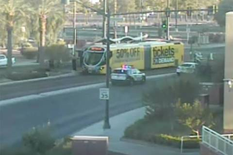 Las Vegas police respond to the scene of a crash at South Grand Central Parkway and West Bonnev ...