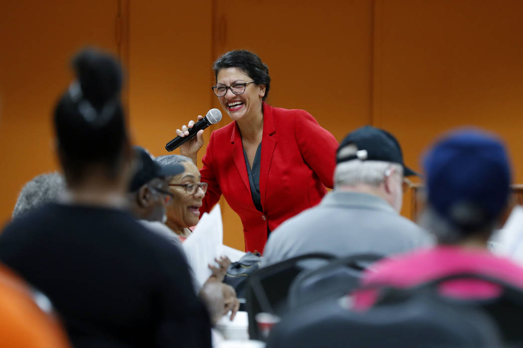 U.S. Rep. Rashida Tlaib, D-Mich., speaks to constituents in Wixom, Mich., Thursday, Aug. 15, 20 ...