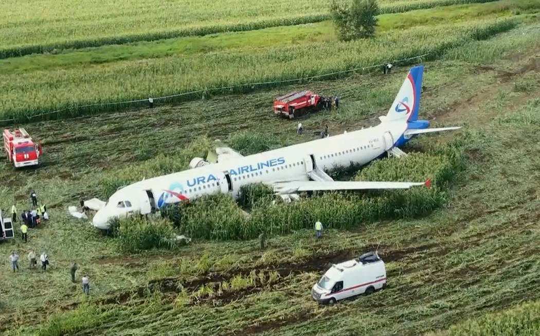 In this video grab provided by the RU-RTR Russian television, a Russian Ural Airlines' A321 pla ...