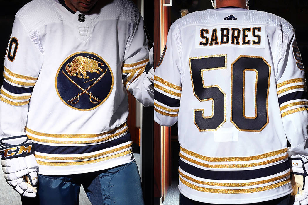check out ead09 f342e Golden Knights shade Buffalo Sabres over new gold sweaters ...